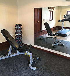 Free weights and exercise bench